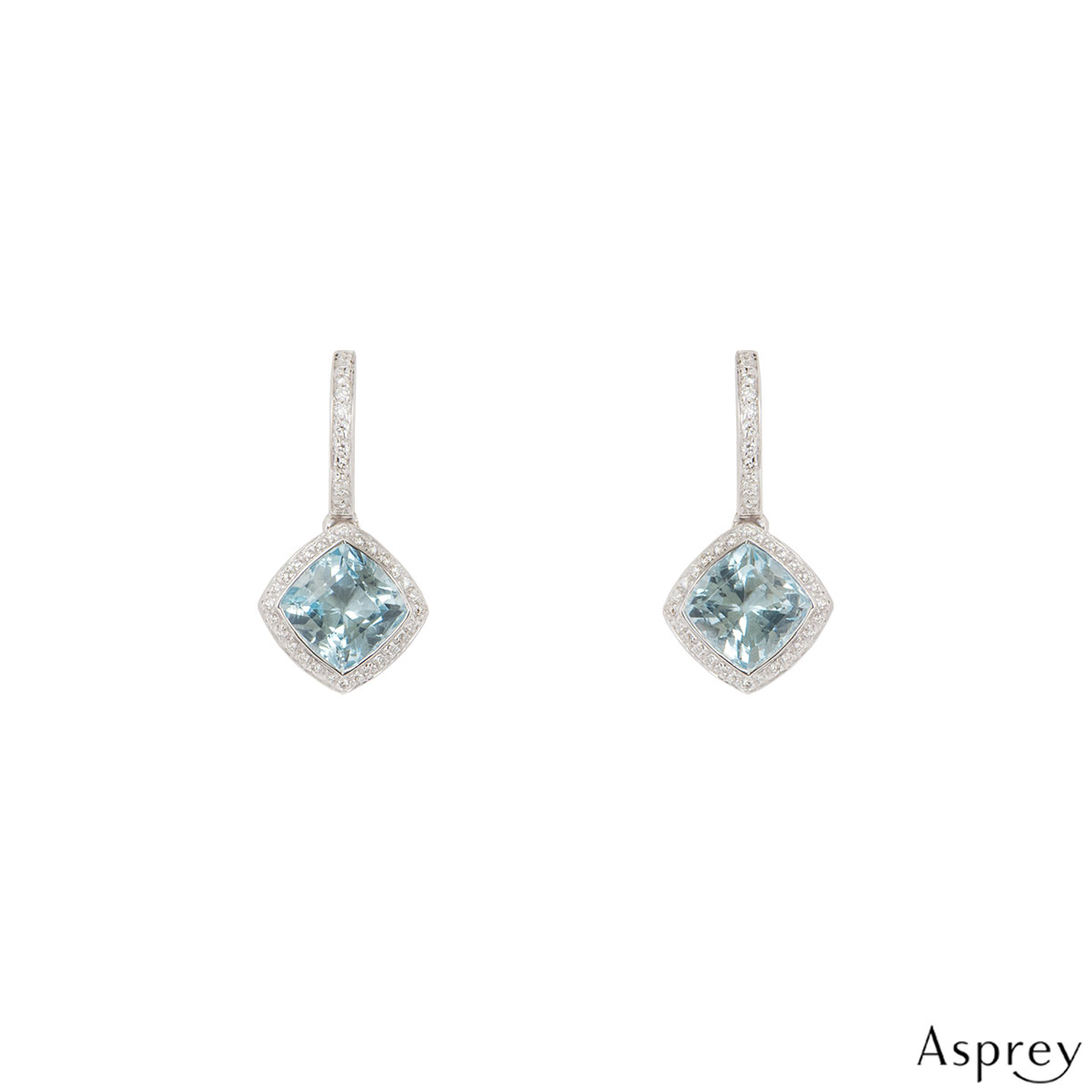 Asprey White Gold Diamond And Blue Topaz Earrings